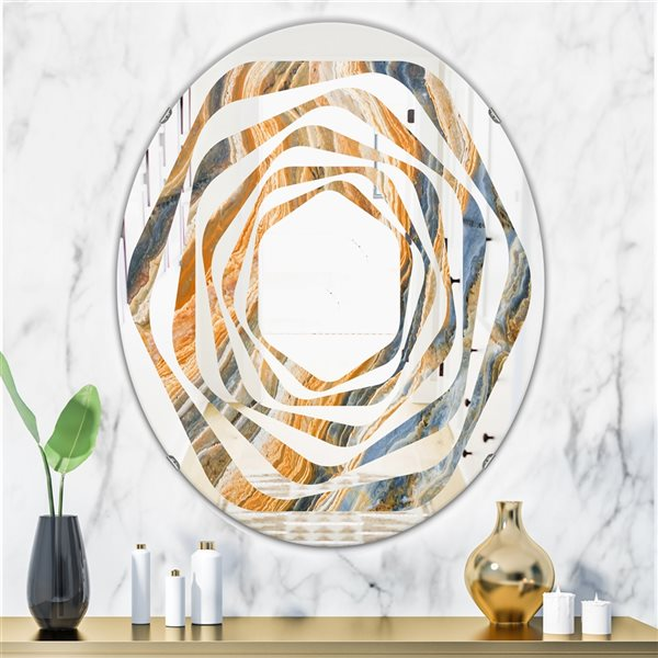 Designart Canada Oval 31.5-in L x 23.7-in W Multicolour Marbled Geode Polished Wall Mirror
