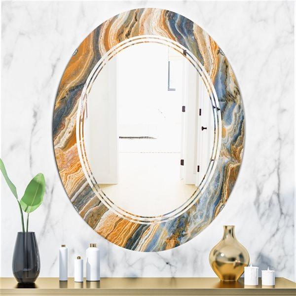 Designart Canada Oval 31.5-in L x 23.7-in W Multicolour Marbled Geode Modern Polished Wall Mirror