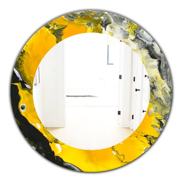 Designart Canada 24-in L x 24-in W Round Marbled Yellow and Black Polished Wall Mirror