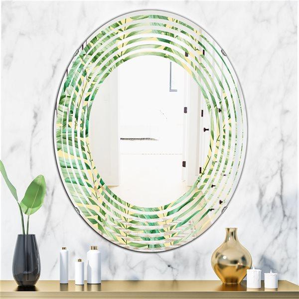 Designart Canada 23.7-in W x 31.5-in L Oval Tropical Retro Foliage Polished Wall Mirror