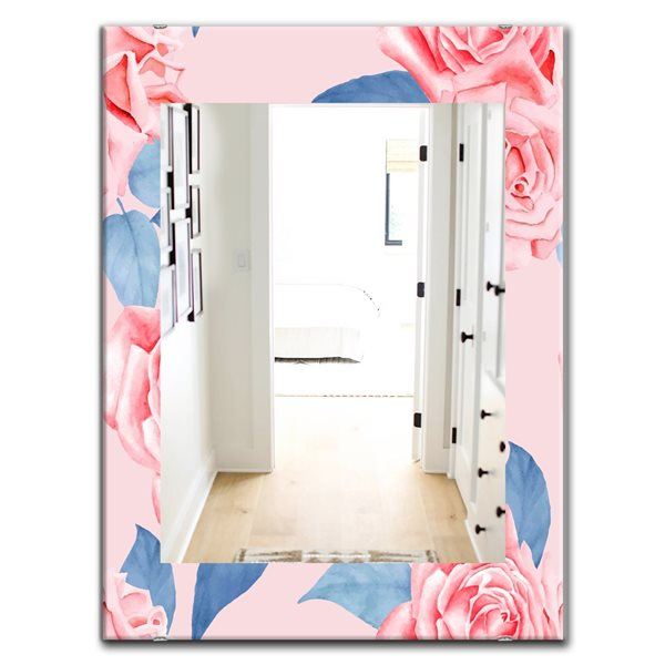Designart Canada 35.4-in L x 23.6-in W Rectangle Pink Blossom Polished Wall Mirror