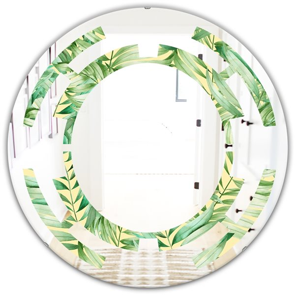 Designart Canada Round 24-in W x 24-in L Round Tropical Retro Foliage Polished Wall Mirror