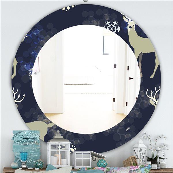 Designart Canada 24-in L x 24-in W Round Christmas Polished Wall Mirror