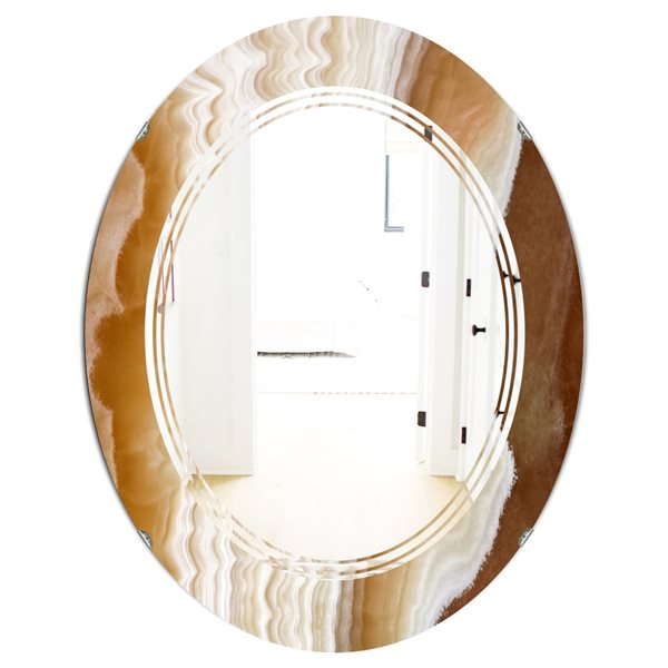 Designart Canada Oval 31.5-in L x 23.7-in W Marbled Geode Modern Polished Wall Mirror