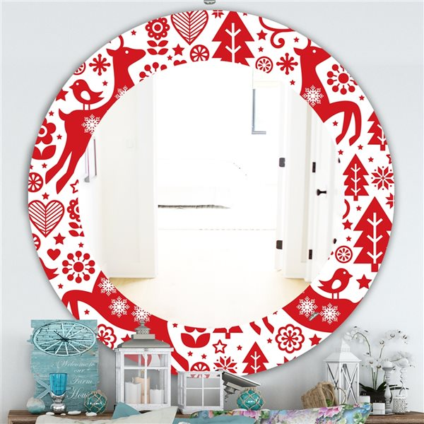 Designart Canada 24-in L x 24-in W Round Red Christmas Polished Wall Mirror