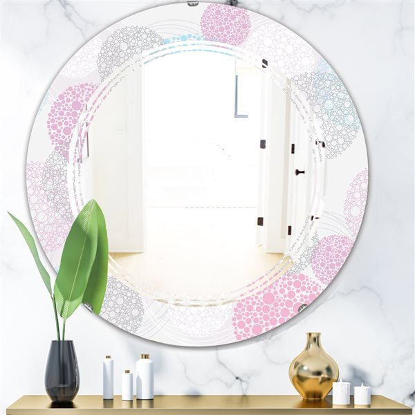 Designart Circular Abstract Retro Geometric III Round 24-in L x24-in W Modern Polished Grey Wall Mounted Mirror