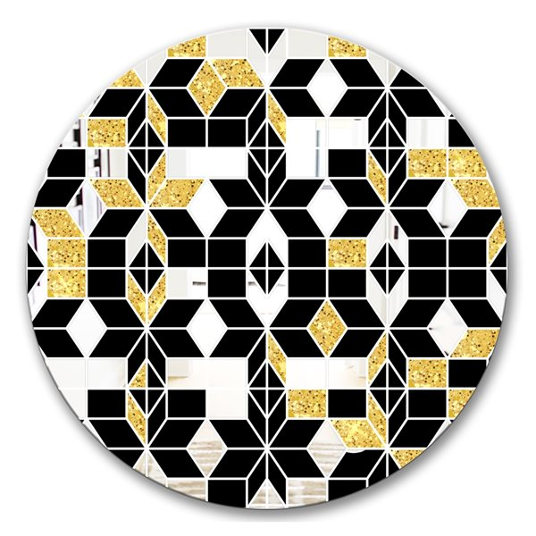 Designart Triangular Diamond Universe1 Round 24-in L x24-in W Polished Mid-Century Black Wall Mounted Mirror