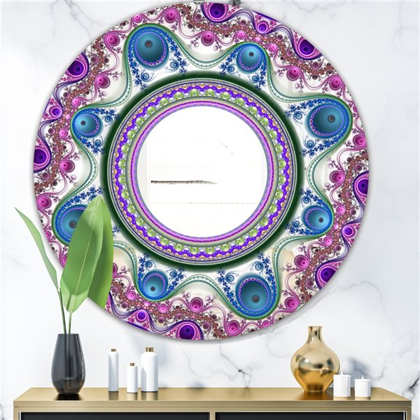 Designart Circles & Curves Round 24-in L x24-in W Polished Modern Purple Wall Mounted Mirror
