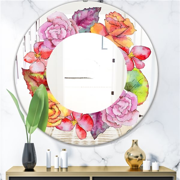 Designart Watercolour Style Wildflower Round 24-in L x24-in W Polished Farmhouse Pink Wall Mounted Mirror