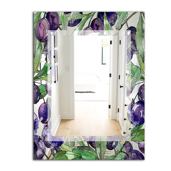 Designart Garland Sweet22 Rectangular35.4-in L x23.6-in W Polished Country Purple Wall Mounted Mirror