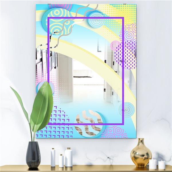 Designart Spacy Dimensions7 Rectangular 35.4-in L x23.6-in W Polished Mid-Century Blue Wall Mounted Mirror