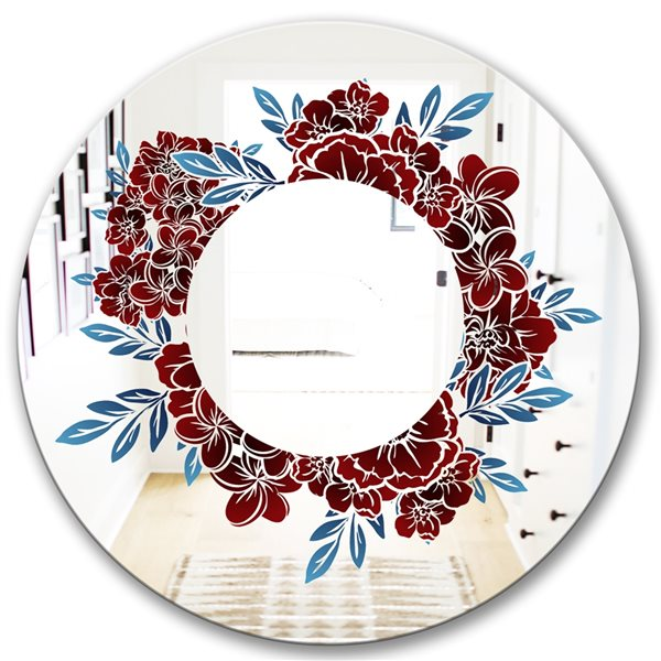Designart Monochrome Floral Elements Round 24-in L x24-in W Polished Country Red Wall Mounted Mirror