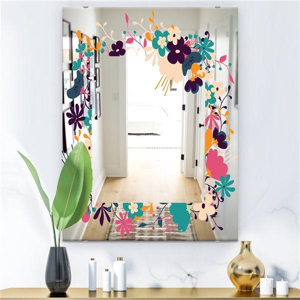 Designart Garland Sweet35 Rectangular35.4-in L x23.6-in W Polished Farmhouse Multicolour Wall Mounted Mirror