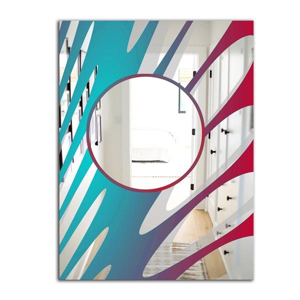 Designart Swirls Rectangular 35.4-in L x23.6-in W Polished Modern Blue/Pink/Red Wall Mounted Mirror