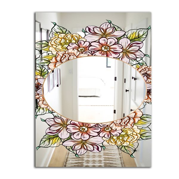Designart Garland Sweet29 Rectangular35.4-in L x23.6-in W Polished Country Yellow Wall Mounted Mirror
