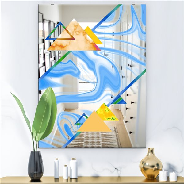 Designart Triangular Spacy Spheres8 Rectangular 35.4-in L x23.6-in W Polished Mid-Century Blue Wall Mounted Mirror