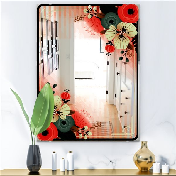 Designart Floral Rectangular35.4-in L x23.6-in W Polished Country Red Wall Mounted Mirror