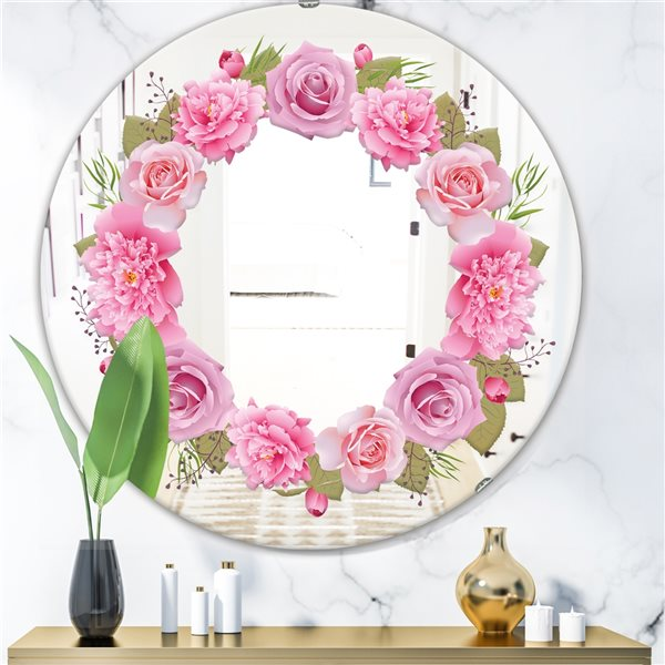 Designart Flowers Round 24-in L x24-in W Polished Country Pink Wall Mounted Mirror