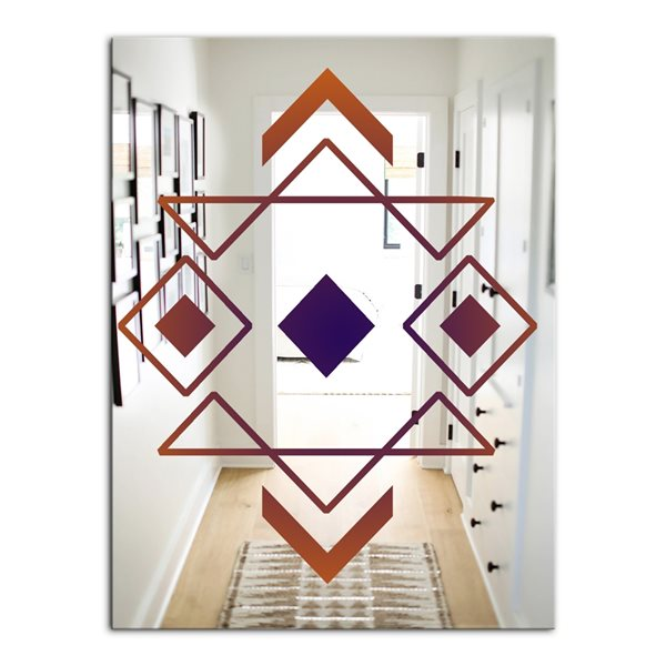 Designart Rectangular35.4-in L x23.6-in W Polished Glam Brown Wall Mounted Mirror