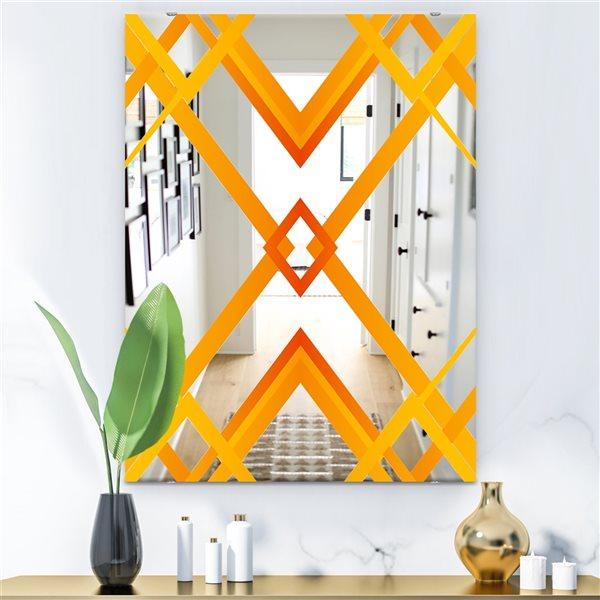 Designart Capital Gold Essential 8 Rectangular 35.4-in L x23.6-in W Polished Mid-Century Orange Wall Mounted Mirror