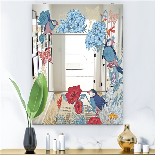 Designart Garland Sweet33 Rectangular35.4-in L x23.6-in W Polished Country Blue Wall Mounted Mirror