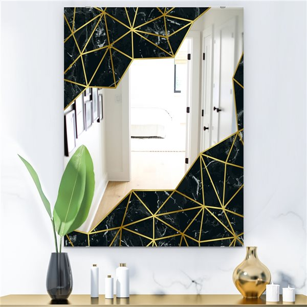 Designart Capital Gold Sleek 11 Rectangular 35.4-in L x23.6-in W Polished Glam Wall Mounted Mirror