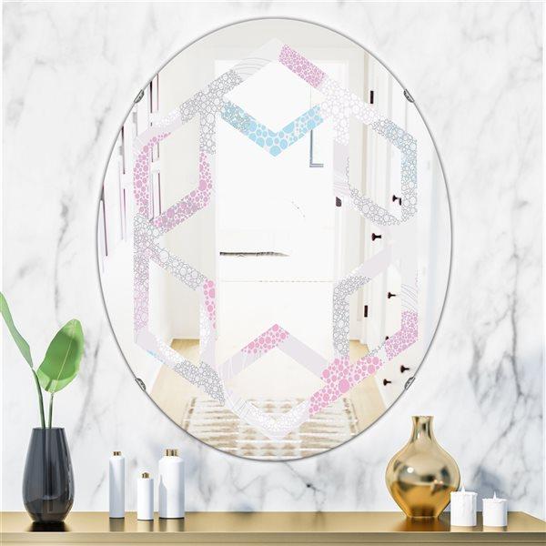Designart Circular Abstract Retro Geometric III Oval Grey31.5-in L x23.7-in W Polished Modern Wall Mounted Mirror