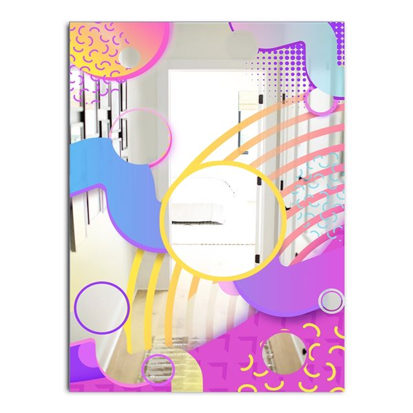Designart Spacy Dimensions9 Rectangular 35.4-in L x23.6-in W Polished Mid-Century Pink Wall Mounted Mirror
