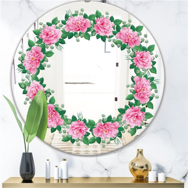 Designart Romantic Floral Wreath Round 24-in L x24-in W Polished Country Pink Wall Mounted Mirror