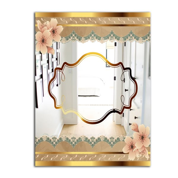 Designart Capital Gold Lively 5 Rectangular 35.4-in L x23.6-in W Polished Country Wall Mounted Mirror