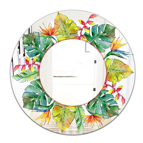 Designart Watercolour Style Tropical Hawaii Leaves Round 24-in L x24-in W Polished Country Green Wall Mounted Mirror