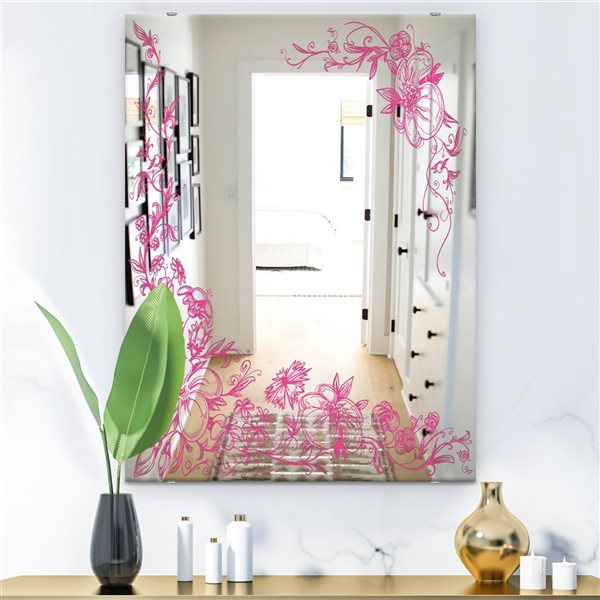 Designart Garland Vivid 11 Rectangular35.4-in L x23.6-in W Polished Country Pink Wall Mounted Mirror