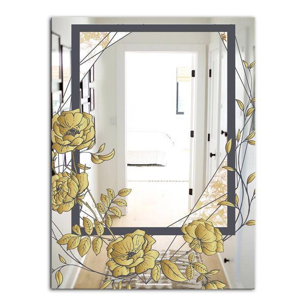 Designart Gold Botanical Blooming 1 Rectangular35.4-in L x23.6-in W Polished Country Wall Mounted Mirror