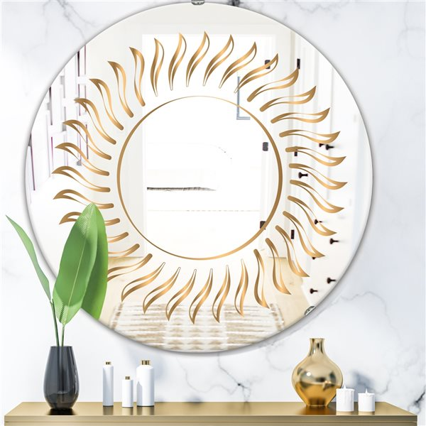 Designart Rays Round 24-in L x24-in W Polished Glam Gold Wall Mounted Mirror
