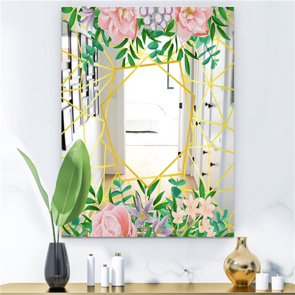 Designart Efflorescent Gold Pink 8 Rectangular35.4-in L x23.6-in W Polished Modern Wall Mounted Mirror