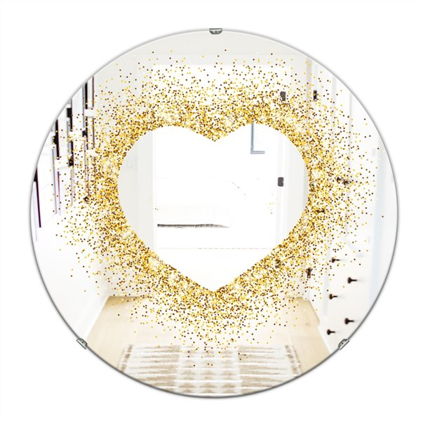 Designart Glitter Heart Round 24-in L x24-in W Polished Glam Gold Wall Mounted Mirror
