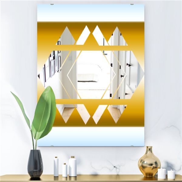 Designart Capital Gold Essential 18 Rectangular35.4-in L x23.6-in W Polished Glam Wall Mounted Mirror