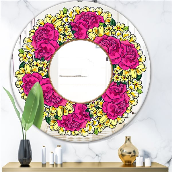 Designart Flowers Round 24-in L x24-in W Polished Country Purple/Yellow Wall Mounted Mirror