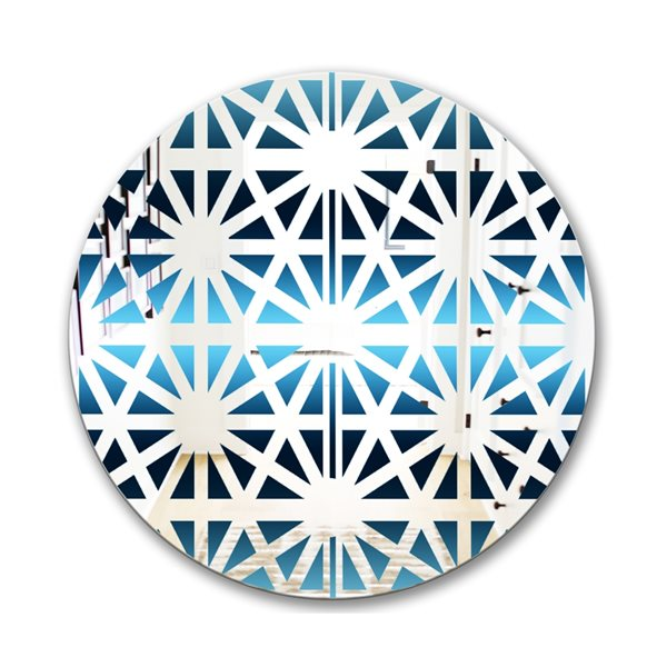 Designart Geometry Sky Round 24-in L x24-in W Polished Mid-Century Blue Wall Mounted Mirror