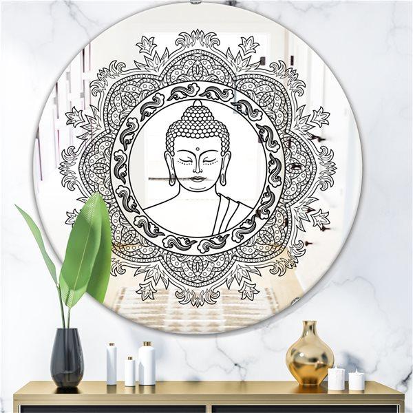 Designart Stencilled Buddha Mandala Round 24-in L x24-in W Polished Country Black Wall Mounted Mirror