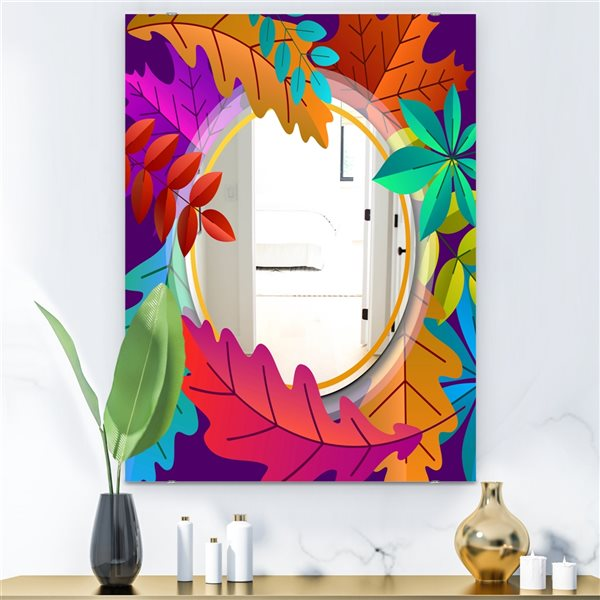 Designart Autumn with Round and Leaves Rectangular 35.4-in L x23.6-in W Polished Farmhouse Multicolour Wall Mounted Mirror