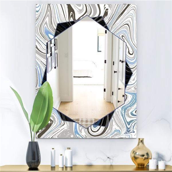 Designart Marbled Diamond17 Rectangular35.4-in L x23.6-in W Polished Industrial Blue Wall Mounted Mirror