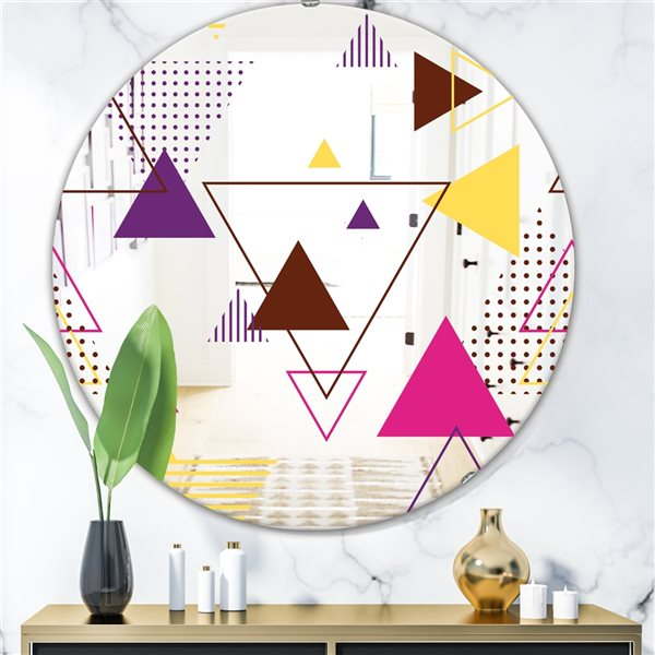 Designart Triangular Spacy Spheres2 Round 24-in L x24-in W Polished Mid-Century Blue Wall Mounted Mirror