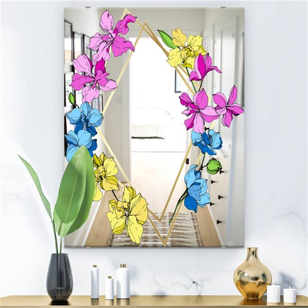 Designart Efflorescent Gold Blue 2 Rectangular35.4-in L x23.6-in W Polished Country Pink Wall Mounted Mirror
