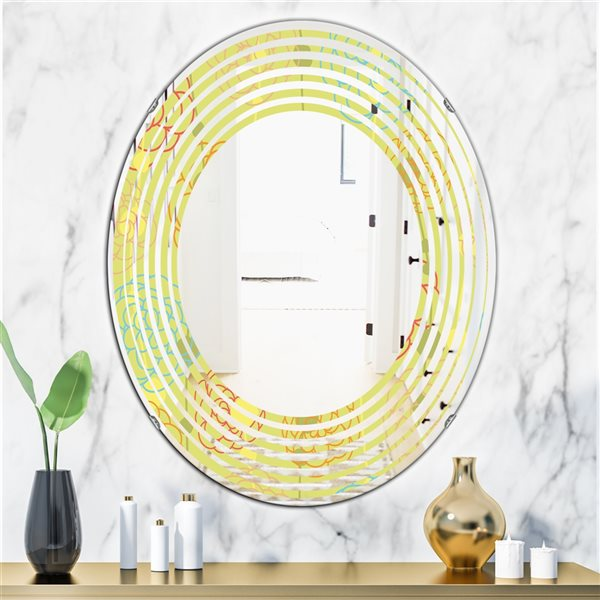 Designart Retro Handdrawn Flowers Oval 31.5-in L x23.7-in W Polished Yellow Wall Mounted Mirror
