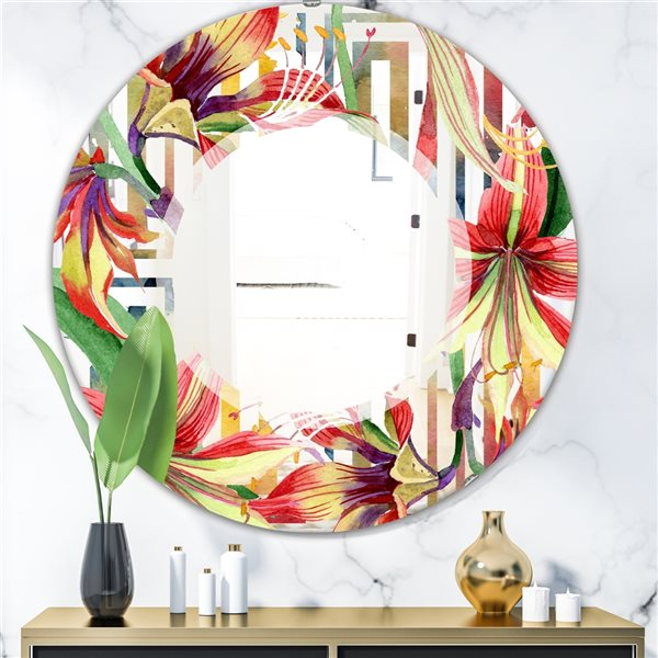 Designart Elementary Botanicals3 Round 24-in L x24-in W Polished Farmhouse Multicolour Wall Mounted Mirror