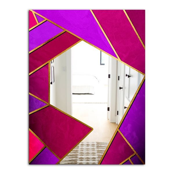 Designart Glorious Rosy Bliss Rectangular35.4-in L x23.6-in W Polished Mid-Century Purple Wall Mounted Mirror