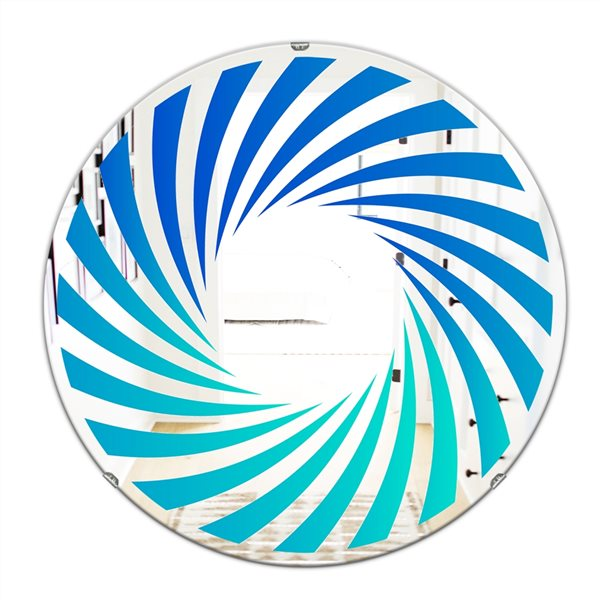 Designart Gradient Blue Lines Round 24-in L x24-in W Polished Modern Wall Mounted Mirror