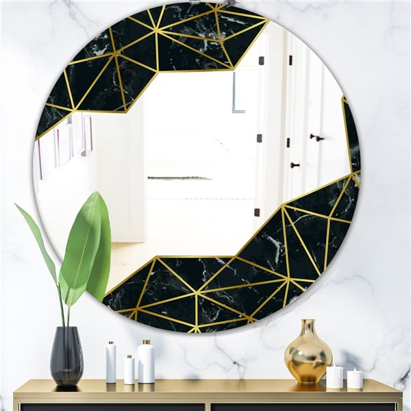 Designart Capital Gold Sleek 11 Round 24-in L x24-in W Polished Glam Wall Mounted Mirror