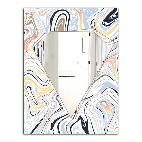 Designart Marbled Diamond6 Rectangular35.4-in L x23.6-in W Polished Modern Blue Wall Mounted Mirror